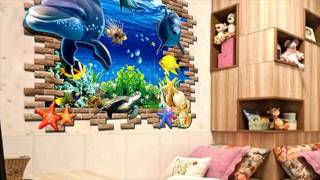 3d Blue Sea World Dolphin Removable Wall Sticker For Kids Bedroom