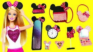 10 DIY MINIATURE Minnie Mouse Barbie DOLL CRAFTS  & Accessories  - simplekidscrafts