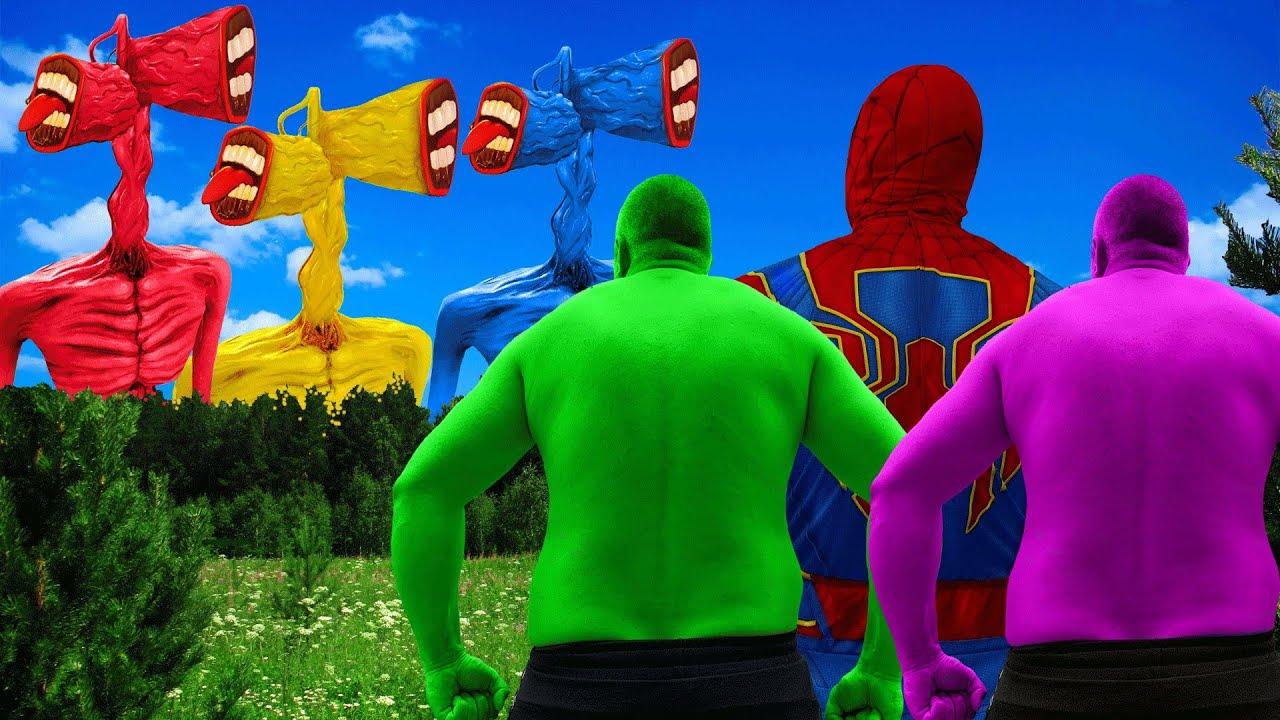 Team Hulk VS Green Siren Head VS Blue Siren Head VS Red Siren Head VS Gold Siren Head