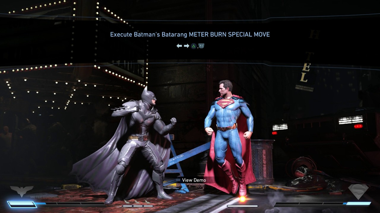 Batman and Superman meter burns in Injustice 2.