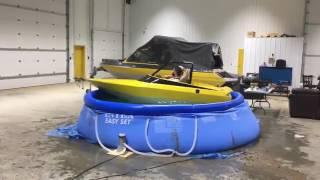 Drunken Guys In A Boat In A Pool In A Garage