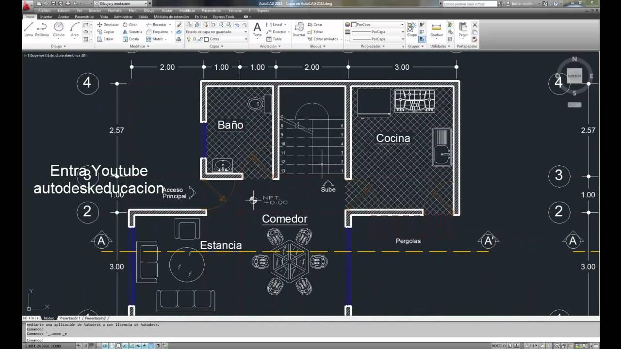 Autocad 2012 paso1 estan listo para empezar como dise ar for Plano habitacion
