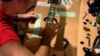 Dan' decal Kham Trai len Guitar Ukulele Applying Inlay Stickers to a Taylor 314 CE Guitar