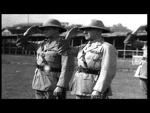 United States Marines wearing pith helmets march in Shanghai,China HD Stock Footage