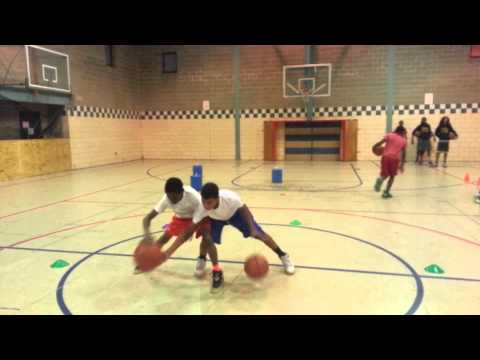 Team Orange AAU basketball, dribbling drills