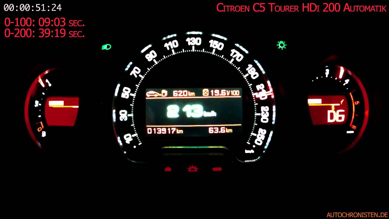 Citroen c5 hdi200 tourer 0 to vmax youtube vanachro Choice Image