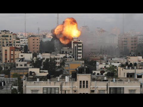 Explosions in Gaza City as Israeli airstrikes continue on Tuesday morning