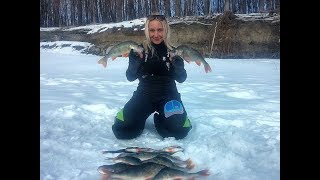 ПОПАЛИ С ИРОЙ НА ГОРБАЧЕЙ!!! Рыбалка март 2019!Крупный окунь.ловля на безмотылку.