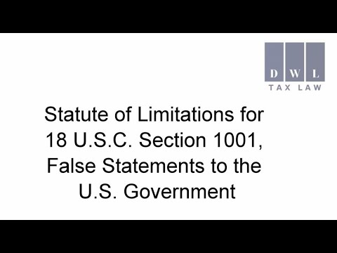 Statute Of Limitations For 18 U.S.C. Section 1001 - False Statements To The U.S. Government