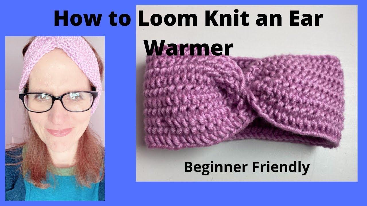 Ear Warmer Loom Knit Navy Tweed/_Ready to Ship