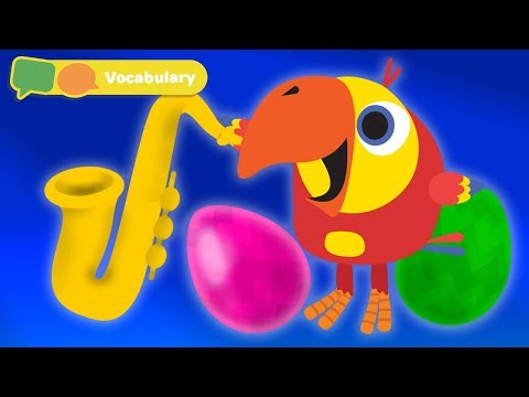 Baby First Words w Larry The Bird - musical instruments  | Toddler Learning Video | First University