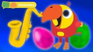 Baby First Words w Larry The Bird - musical instruments    Toddler Learning Video   First University