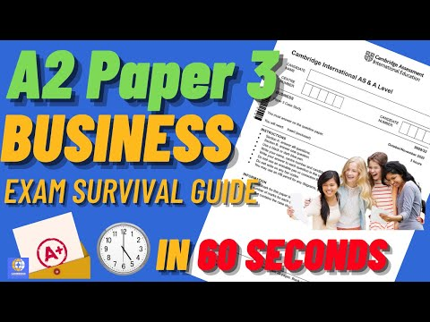 A2 Business Paper 3 (9609) 60 second Exam Survival Guide - CAIE Updated 2021