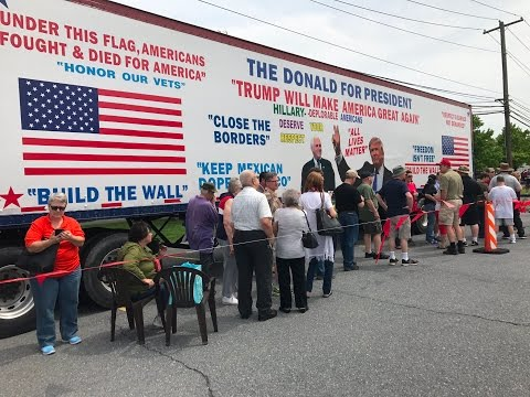 Long line hours before Trump rally in Harrisburg, Pa.