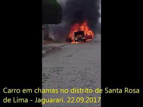 Jaguarari-Ba: Vídeo do carro que pegou fogo em Santa Rosa