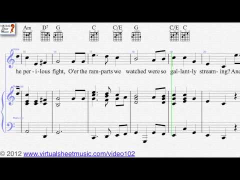John Stafford Smith's The Star Spangled Banner, voice and piano sheet music - Video Score