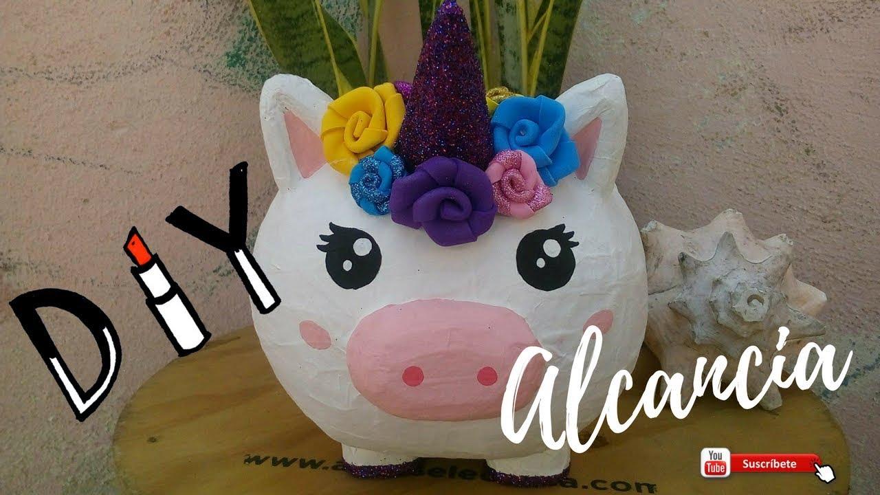 diy alcancia de unicornio | con globo y unicel - youtube
