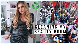 clean my BEAUTY ROOM with me! ♻️ organising & decluttering my makeup & junk!