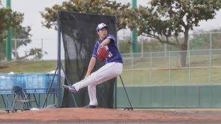 北谷球場では、新人の勝野昌慶投手が打撃投手を初めて務めた。新外国人...