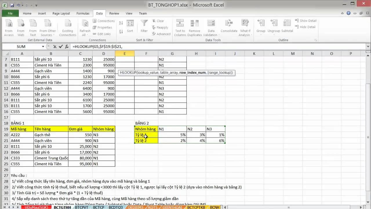 [EXCEL] Bảng chiết tính giá trị hàng hóa