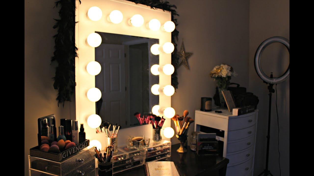 diy hollywood vanity mirror with lights. D I Y HOLLYWOOD VANITY MIRROR UNDER  100 YouTube