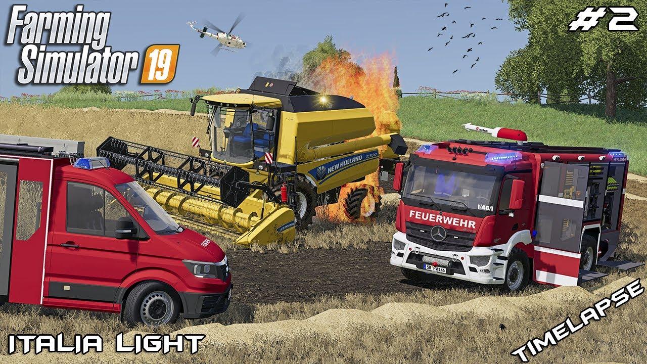 Harvesting rye and New Holland caught fire | Animals on Italia | Farming Simulator 19 | Episode 2