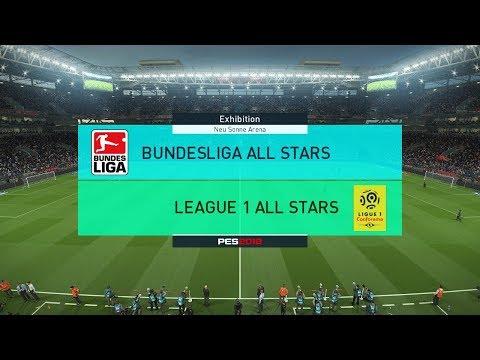 Bundesliga all stars vs league 1 all stars i pes 2018 full match gameplay