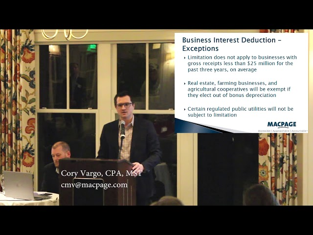 2018 Tax Reform – Business Interest Expense Deduction