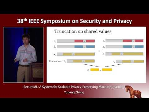 SecureML: A System for Scalable Privacy-Preserving Machine Learning