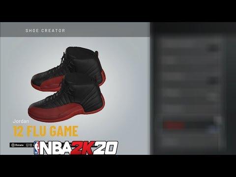 NBA 2K20 Shoe Creator Jordan 12 Flu Game 🔌🔥👟