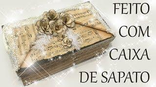 CAIXAS DE SAPATO VINTAGE DECORADA COM PARTITURAS :: CRAFT E ART ARTESANATO