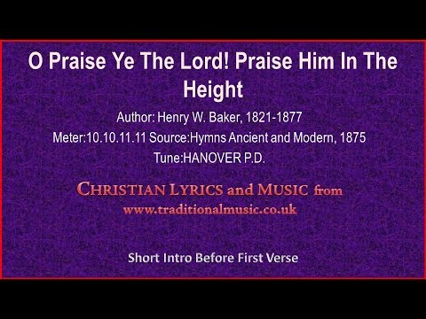 O Praise Ye The Lord Praise Him In The Heightmp518hanover Old