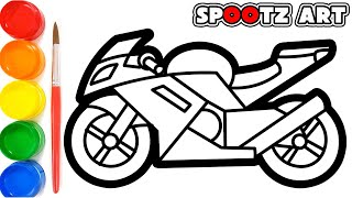 Drawing Sport Bike and Coloring