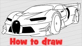 How to draw a super car Bugatti Vision Gran Turismo
