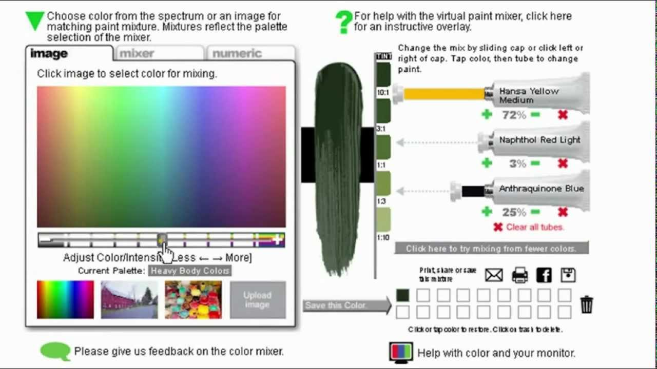Virtual colour mixing tool golden acrylic