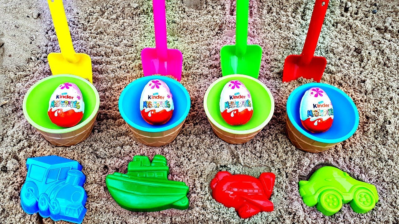 Outdoor Kinder Play With Toys Shovels And Sand Molds In Outdoor Playground With Kinder Surprise Eggs Sand Toys