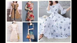 Spring Summer Casual Frock Designs 2019-20=Fall Colour Combination Dresses IDEAS