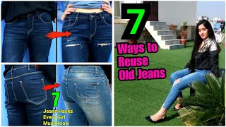 7 DIY Old Jeans Reusing Hacks | Turn old clothes to New , Shopping Hacks for teenagers