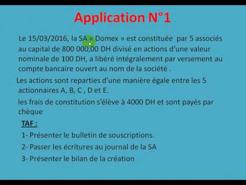 """Comptabilité des sociétés S4 partie 2 """" la constitution de la SA """""""