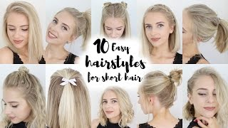 10 Easy Hairstyles for SHORT Hair(Please excuse my awful fake tan. I know, it's literally horrendous haha! But I hope you enjoyed this video regardless :) PREVIOUS VIDEO: Chatty GRWM: Night ..., 2016-05-12T16:00:00.000Z)
