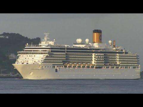 Costa Crociere Luminosa cruise ship arriving at port of Lisbon