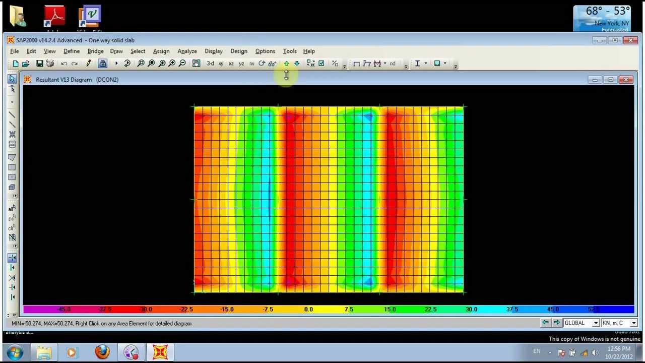 design one way solid slab by SAP2000 تصميم بلاطة مصمتة محملة باتجاه واحد  بإستخدام الساب