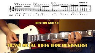 5 Heavy Metal Guitar Riffs (for beginners) GUITAR LESSON with TABS