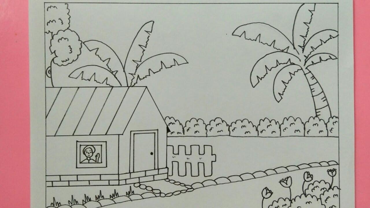 Cara Menggambar Pemandangan Rumah