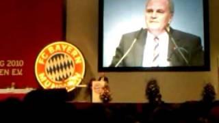 FC Bayern Jahreshauptversammlung 2010 Uli s Ansprache über 1860.avi