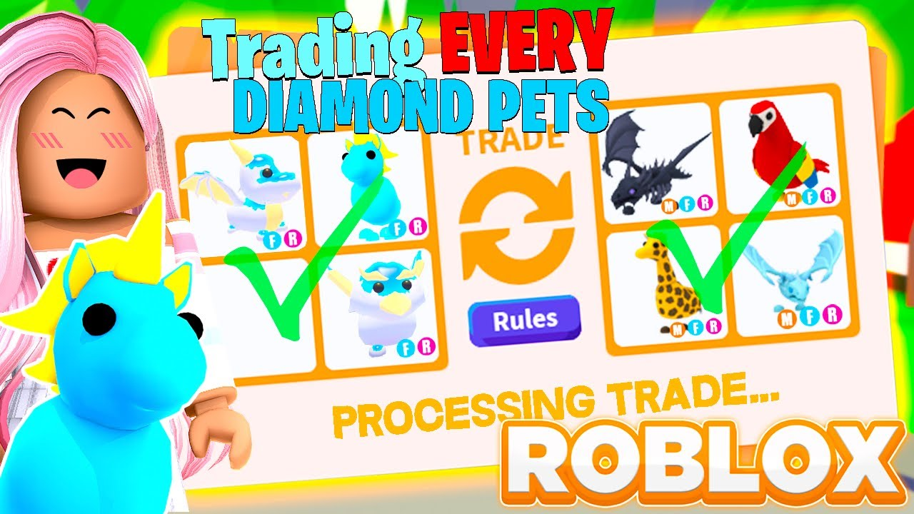 TRADING EVERY DIAMOND PET IN ADOPT ME!! + GIVEAWAY (Roblox Adopt Me)