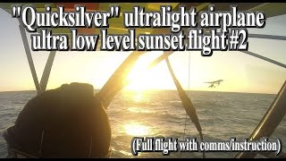 Full vid- Ultralight ultra low level ocean sunset formation flight instruction/training #2