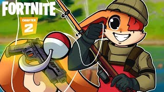 WINNING ONLY USING WEAPONS AND SHIELDS THAT WE FISHED!!!! [FORTNITE FISHING CHALLNEGE]