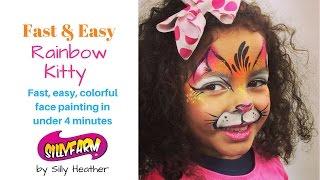 Fast Easy Rainbow Kitty Face Painting Tutorial