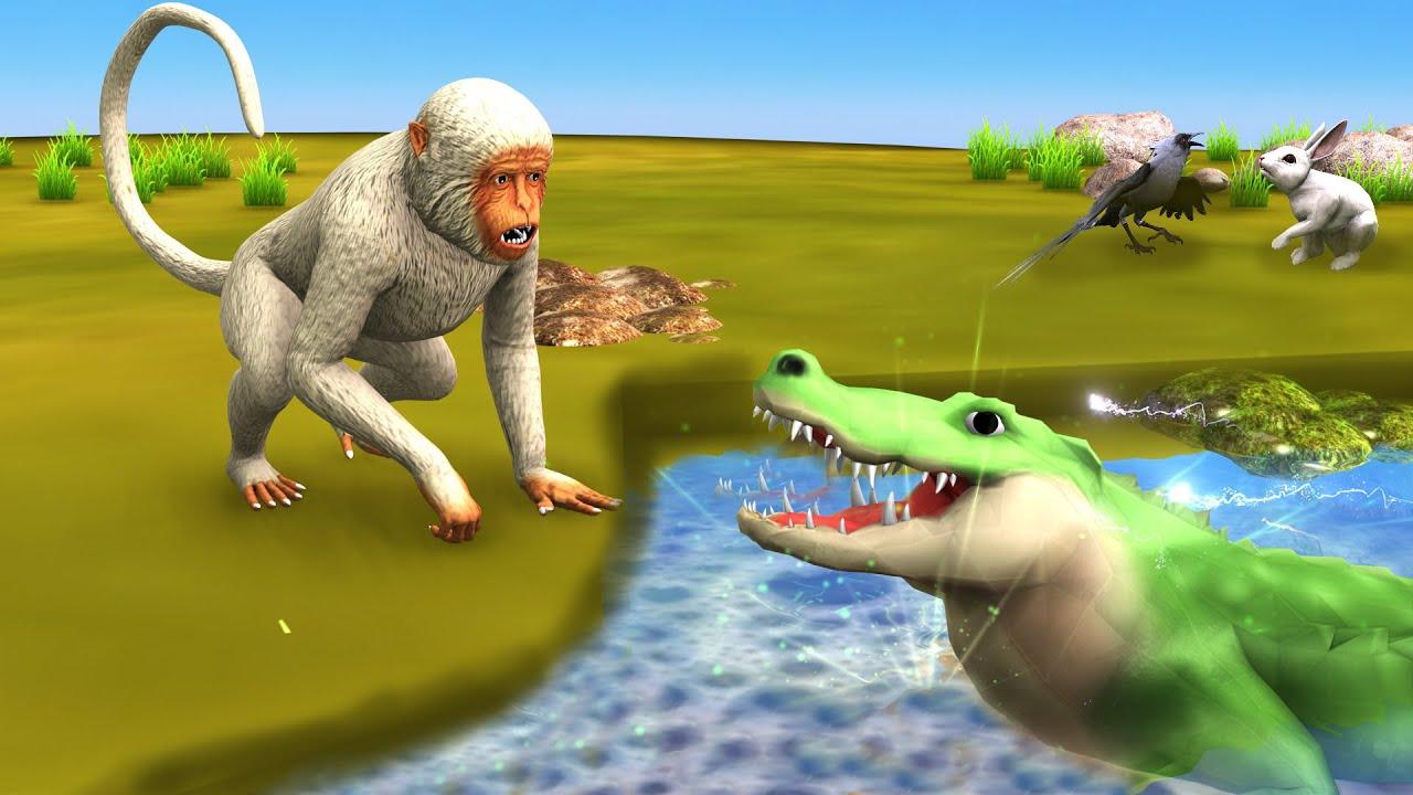 जादुई तालाब मगरमच्छ और चतुर बंदर Magical Pond Crocodile Clever Monkey Hindi Kahaniya हिंदी कहनिया